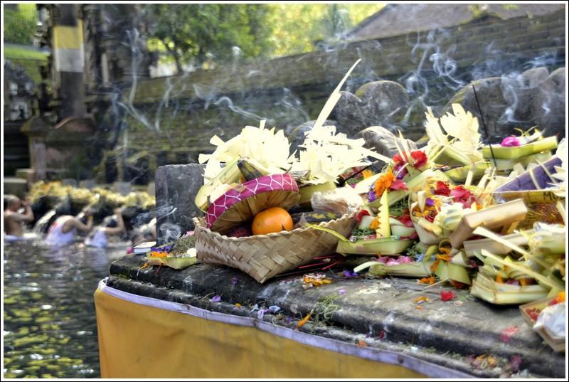 Offerings at Tirta Empul, Ubud