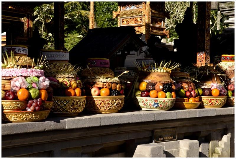 Multi-leveled offerings at Tirta Empul, Ubud