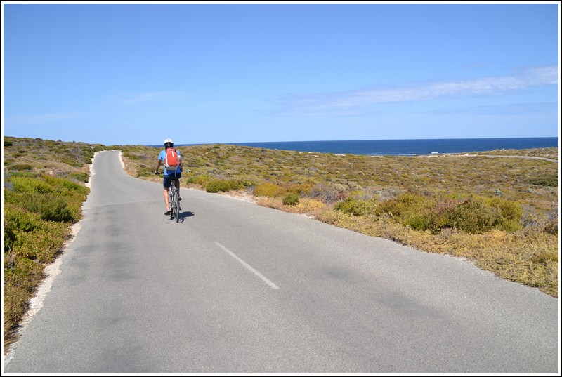 Lennart cycling Rottnest's empty roads